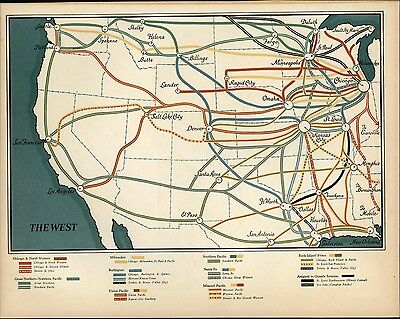 Map of West railroad lines simplified 1930 Fortune vintage color map print