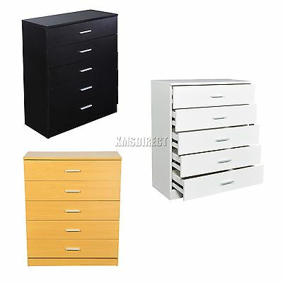 FoxHunter Wooden Cabinet With 5 Drawer Bedroom Storage Chest Organizer Unit New