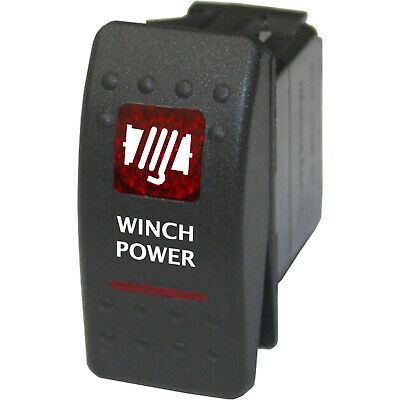 Rocker switch 551R 12V WINCH POWER 20A Dual Led red SPST ON/OFF