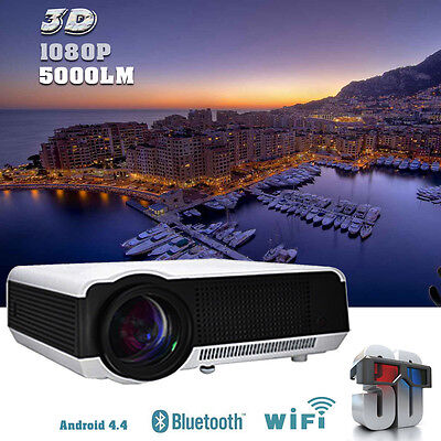 5000Lumens Android 4.4 WIFI HD 1080P LED 3D TV Home Theater Projector HDMI RJ45