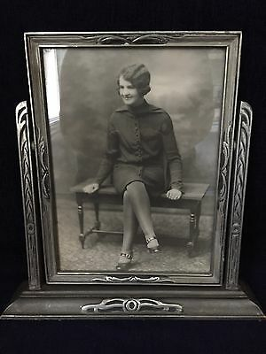 Vintage Stand Up Easel Picture Frame With Black & White Photo