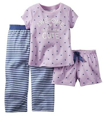 Carter's NWT 3T 4T Toddler Girl 3Pc AWESOME Jersey Pajama Sleep Set $26