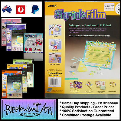 Grafix SHRINK FILM - Clear - 6 Sheets - Bake your art and watch it shrink