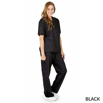 Natural Uniforms Unisex Solid V-Neck, Cargo Pocket Scrub Set