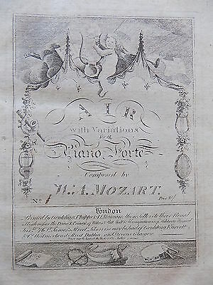 c1805 Music Sheets Mozart Beethoven Antique Old Book Early Illustrated Covers