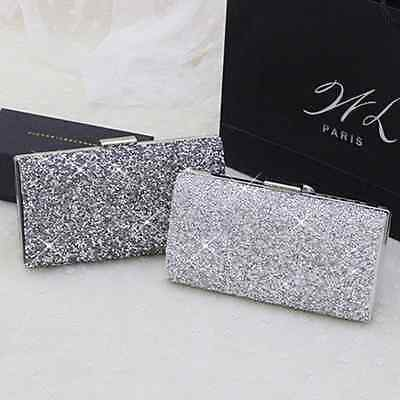 Shiny Rhinestone Bead Evening Bride Bridal Clutch Bag Handbag Hard Wallet Purse