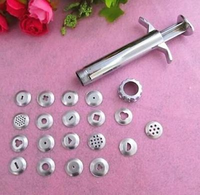 FD4732 New 19 Discs Clay Fimo Extruder Gun Sugarcraft Biscuit Cake Piping Tool ♫