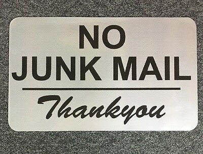 No Junk Mail Thank you - Metallic Gloss Vinyl Sticker 90 X 55 mm