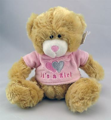 """Baby Plush Teddy Bear It's A  Girl Soft Toy - 6.5"""" Pink"""