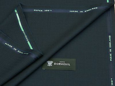 DORMEUIL, SUPER 100's MIXTURE BLUE/NAVY WOOL SUITING FABRIC 3.5M-MADE IN ENGLAND