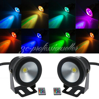 2X Waterproof Rgb Led Spot Lights Garden Fountain Pool Ground Underwater +Remote
