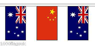 China & Australia Polyester Flag Bunting - 20m with 56 Flags
