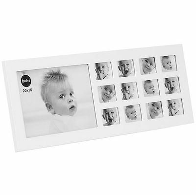 Baby My First Year Photo Frame White Wooden Multi Picture Display