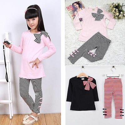 2Pcs Kids Baby Girls Outfits Clothes T-shirt Tops+Pants Set Autumn Spring Outfit