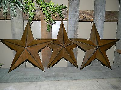 "Set of 3 12"" RUSTY BLACK BARN STARS Metal Tin Primitive Country Farmhouse Rustic"