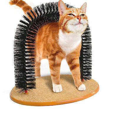 Cat Self Grooming Scratching Arch Bristle Brush Massager Groomer FREE Catnip