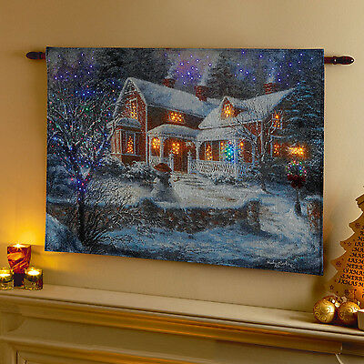 Battery Operated Light Up LED Fibre Optic Christmas Tapestry Wall Hanging Art