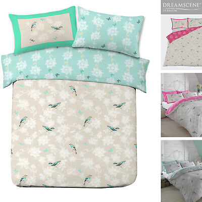 Duvet Cover with Pillowcase Bedding Set Vintage Bird Toile Floral Pink Mint Grey