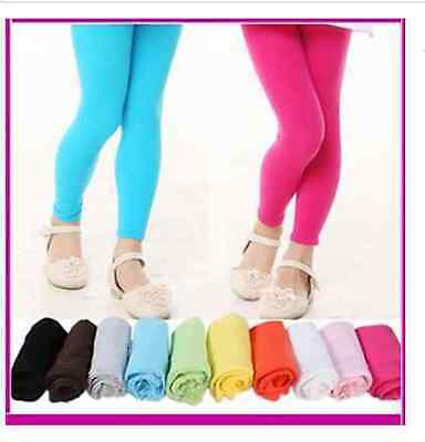New Girls Kids Coloured Cotton Footless Leggings Size 2-14 Years