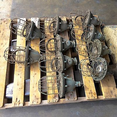 Vintage Industrial Light Fixtures, Caged Lighting, Industrial Pendant, QTY-(10)