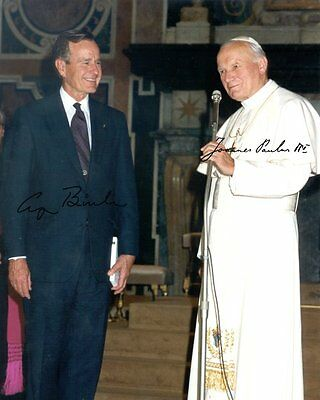 JOHANNES PAUL II & GEORGE BUSH, Repro-Autogramm 20x26 cm, signed, Pope John Paul