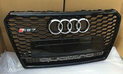 2010-2014 Audi A7 S7 To Rs7 Front Grill Gloss Black Grille With Quattro Uk Stock