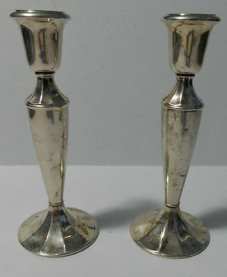 """(2) Vintage 8.5"""" Gorham Heritage Silver EP Weighted Candlesticks Holders Italy"""