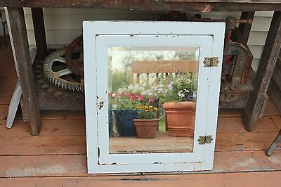 Vintage Distressed Metal Medicine Bathroom Cabinet with Shelves and Mirror