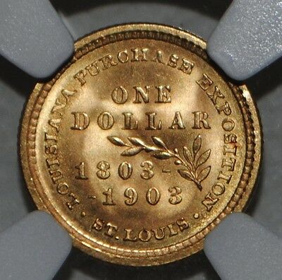 1903 Jefferson $1 One Dollar Gold Louisiana Purchase. NGC UNCIRCULATED Details.