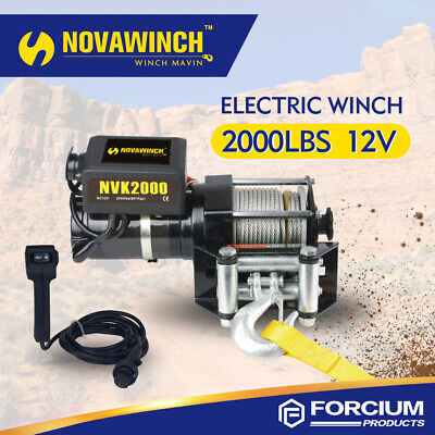 2000LBS Electric Recovery Winch Utility 12V Steel Rope 4mmX15m Roller Fairlead