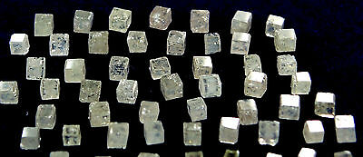 Natural white color polished Cube Shape Loose Diamond 5 pcs lot #