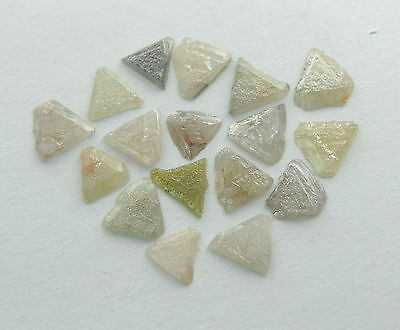 1.00 ct Natural Loose Diamond Rough uncut Triangle Shape Mix Color 17 pieces #