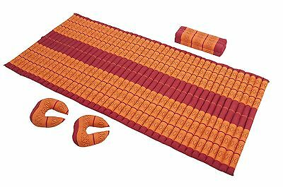 Thai Mat + Support  Pillows Set Massage Meditation Yoga orange Kapok futon