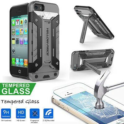 Scratch Resist Tempered Glass Screen Protector iphone 5s SE Heavy Duty Hard Case