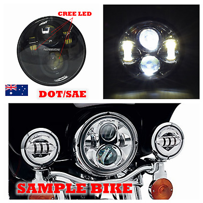 "Black 5 3/4"" LED projector headlight cree daymaker H4 Hi/Lo beam DOT for Harley"