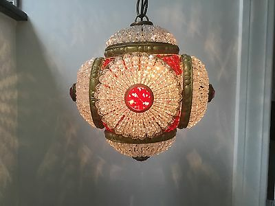 Antique Brass Jeweled Crystal Glass CZECH Petite Chandelier Beaded Shade Ruby