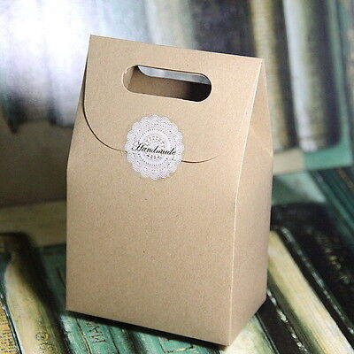 10pcs Brown Paper Box Wedding Party Candy Cake Gift Boxes Small Reticule