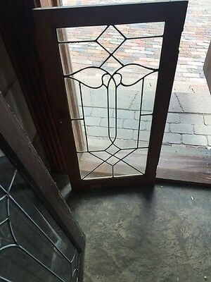 "Sg 824 Antique Leaded Glass Window 18"" X 35 And Three-Quarter Inch"