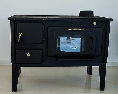 Woodburning cookin stove oven with glass PROMETEY  7 kW cast iron top NAR - TYPE