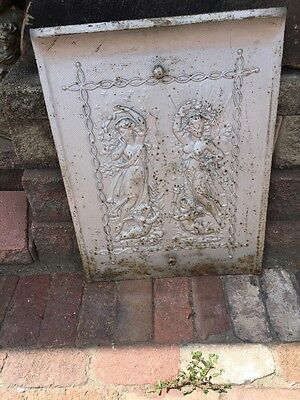 Antique Cast-Iron Figural Lady And Cherub Fire Front Plate