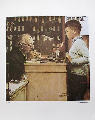 """NORMAN ROCKWELL """"THE WATCHMAKER"""" 1978 Signed Limited Edition Lithograph Art"""