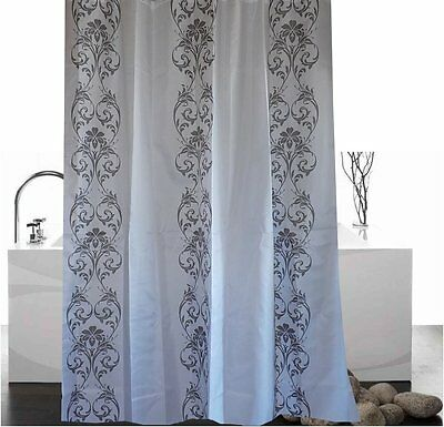 Stylish grey damask white fabric shower curtain 1.8m new free shipping