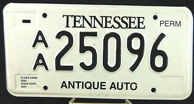 "2001  ""antique Auto""  Tennessee License Plate/tag....excellent"