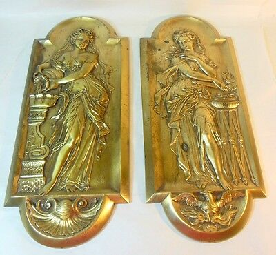 Antique Pr WOMEN Metal Wall Plaques Hangings Rebecca at Well  Mythology Sybils