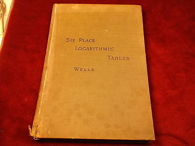 """Very Old Vtg Antique 1891 Book """"six Place Logarithmic Tables..."""" Webster Wells"""