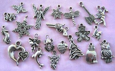 Bulk Lot of 20 Mixed Styles Tibetan Silver Charms Pendants New Free Post