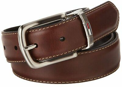 Tommy Hilfiger Men's Leather Reversible Dress Belt In Black Brown 11tl08x014