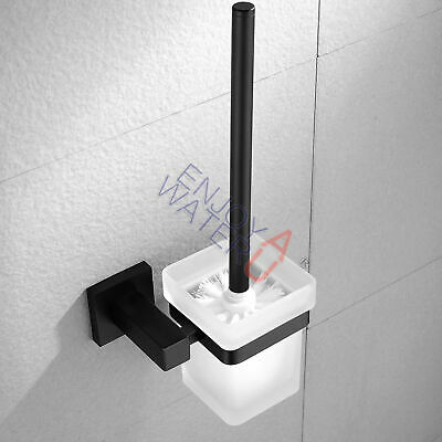 Black Wall Mounted Toilet Brush Holder SET Glass Square Cup Bathroom Accessories