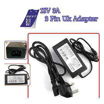 12V 3A 3pin UK Adapter Power Supply Charger For Multi Use Security CCTV DVR LED