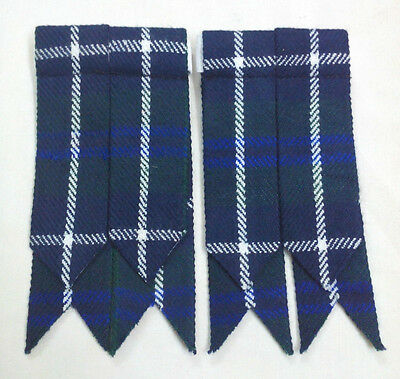 Men's Scottish Kilt Hose Sock Flashes Blue Douglas Tartan/Blue Douglas Flashes/L